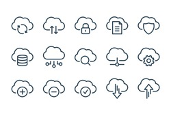 Cloud service and network related line icons. Database and online storage vector linear icon set.