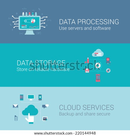 Cloud service data storage processing concept flat icons set of process and vector web banners illustration print materials website click infographics elements collection