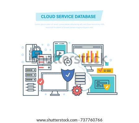 Cloud service database. Computing, network. Data storage device, media server, database security, backups, archives, file storage hosting, media. Illustration thin line design of vector doodles.