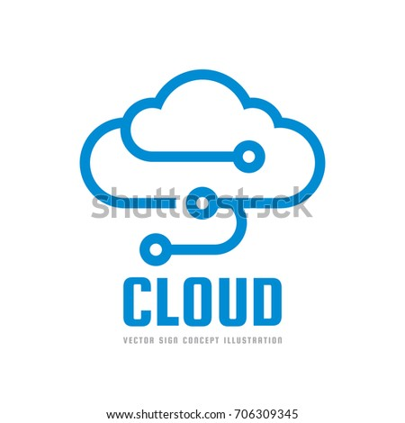 Cloud Service - vector logo template concept illustration. Data storage  transfer upload download icon. Technology symbol. Design element.