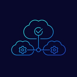 Cloud services and saas line icon