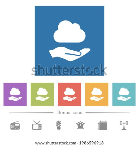 cloud services flat white icons
