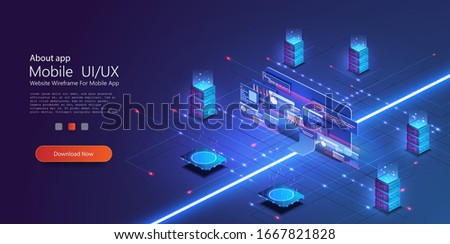 Cloud services isometric composition. Big data analysis storage business intelligence systems modern high tech isometric background connected with dashed lines. Station of future, server room rack.