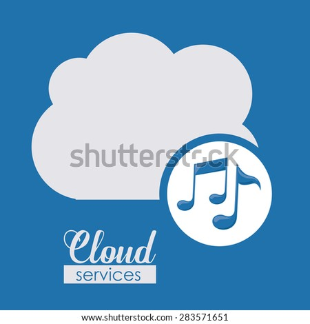Cloud services over blue background, vector illustration