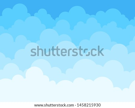 Cloud sky cartoon background. Blue sky with white clouds flat poster or flyer, cloudscape panorama pattern vector seamless colored abstract fluffy texture