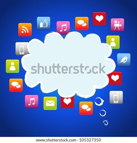 Cloud social media with environmental icons .