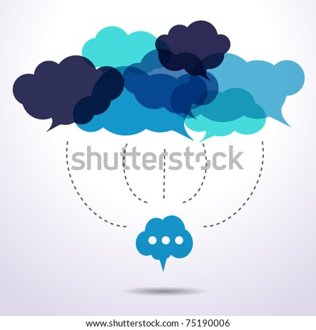 Cloud speech bubbles are connecting