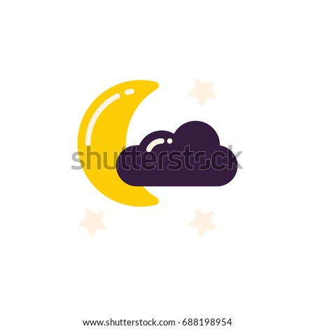 Cloud, stars and moon logo on the white background. For pajama party, sleep tracking app. Night icon in flat style.
