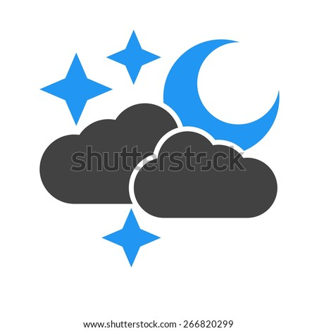 Cloud, stars, moon, rain icon vector image. Can also be used for weather, forecast, season, climate, meteorology. Suitable for web apps, mobile apps and print media.