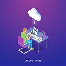 Cloud storage banner. A man working on computer storing data in the cloud storage. Isometric concept. Highly detailed vector illustration