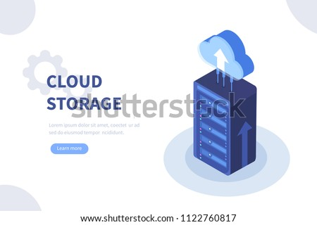 Cloud storage concept. Can use for web banner, infographics, hero images.  Flat isometric vector illustration isolated on white background.