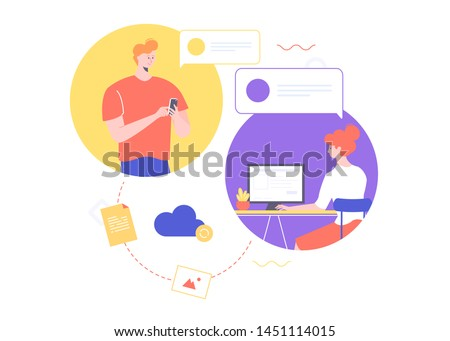 Cloud storage file, freelance concept, the contractor sends the completed work to the customer, the correspondence between a man and a woman, download the document, telecommuting freelancer, flat
