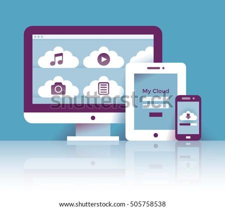Cloud storage files: music, video, photo, documents on desktop computer, tablet, mobile smartphone. Concepts: cross platform sharing, online digital database software, download, Google drive, Dropbox