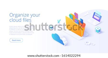 Cloud storage folder isometric vector illustration. Digital file organization service or app with data transfering. Online computing technology. Internet server or datacenter connection network.