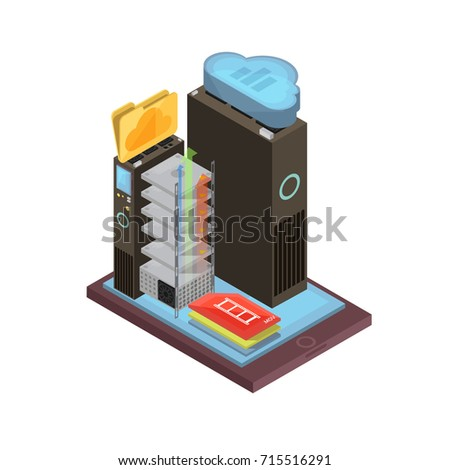 Cloud storage isometric design with video files and folder, server racks on mobile device screen vector illustration stock photo