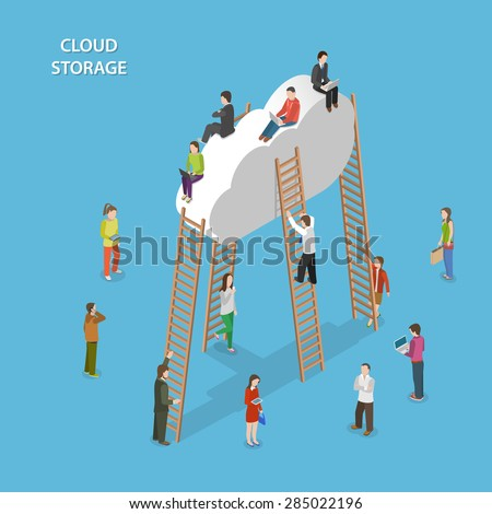 Cloud Storage Isometric Vector Concept. People are Walking Near the Cloud, Some of Them Try to Climb Up to the Cloud With Ladder, Some are Sitting on the Cloud.
