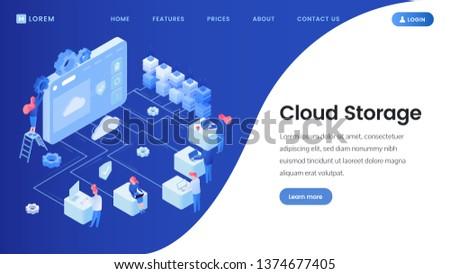 Cloud storage landing page vector template. Cyberspace, server, database isometric illustrations with site navigation, menu. Software development, web hosting platform website layout