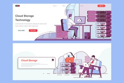 Cloud storage landing pages set. Hosting provider, cloud storage management corporate website. Flat line vector illustration with people characters. Web concept use as header, footer or middle content
