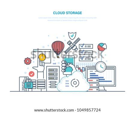 Cloud storage service. Security of data storage device. Internet media server, web hosting, cloud technology. Data protection, database security, online server. Illustration thin line design.