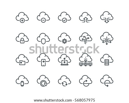 Cloud storage. Set of outline vector icons. Includes such as Data Synchronization, Transfer, Access and other.