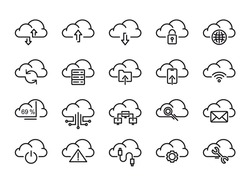 Cloud Storage Sign Black Thin Line Icon Set Connection, Information Data and Sharing Concept. Vector illustration of Icons