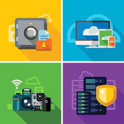 Cloud storage, transmission and security. ?omputer equipment, photo and video files. Internet security, database. Color vector flat illustration and icon set