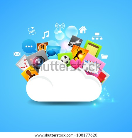 Cloud Storage Vector, layered vector design.