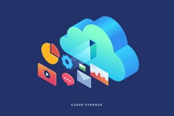 Cloud storage: web graph, chart, email, player. Infographics elements on computer devices. 3d isometric flat design. Vector illustration.
