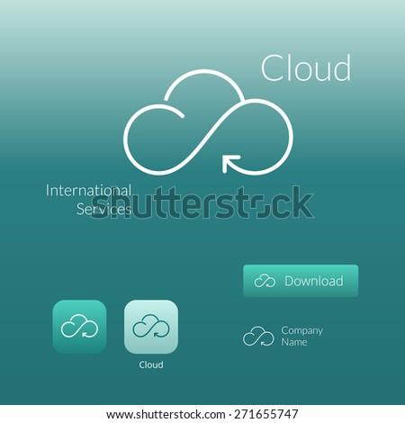 Cloud stylish logo icon and button concept