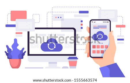 Cloud synchronisation. Computer and phone cloud services, network computing technology users network vector flat illustration