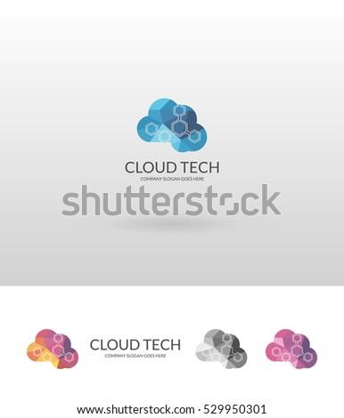 Cloud tech. Colorful low poly cloud logo template.