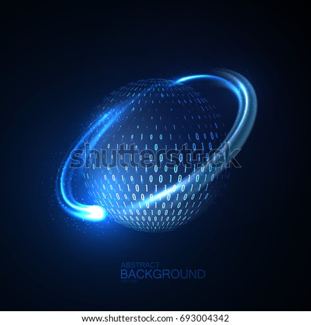 Cloud technologies. Abstract virtual digital sphere of binary code particles and circular glowing energy stream. Futuristic vector illustration. Global communication or telecom concept. Logo design