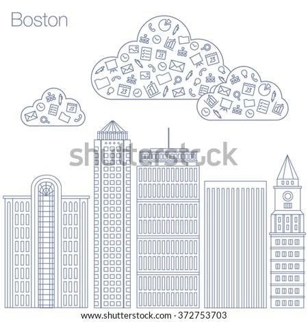 Cloud technologies and services in the world wide web. Hackathon, workshop, seminar, lecture in metropolis Boston. The city is in a flat style for presentations, posters, banners. Vector illustration