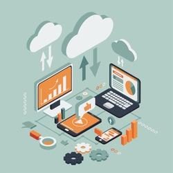 Cloud technologies isometric