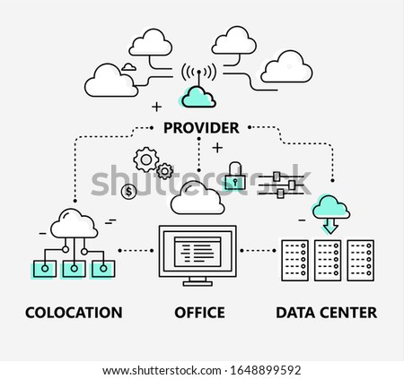 Cloud technologies thin line infographics, internet provider, colocation, office, data center. Outline vector illustration.  Foto stock ©