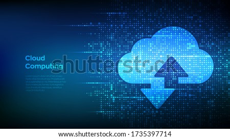 Cloud technology background. Cloud computing. Cloud storage sign with two arrows up and down icon made with binary code. Digital binary data and streaming digital code. Vector Illustration.