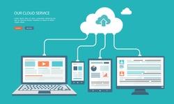 Cloud technology flat illustration. Eps10