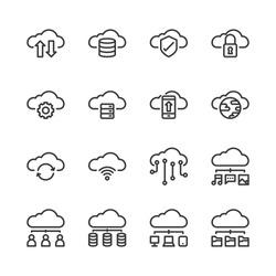 Cloud technology icon set.Vector illustration