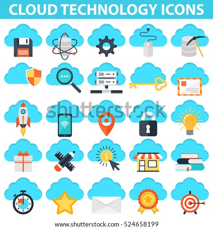 Cloud Technology Icons. IT illustrations. Cloud Computing. System Administrator. Server vector.