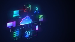 Cloud technology illustration, digital cloud with different functions