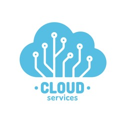 Cloud technology logo, simple cloud silhouette wit circuit board pattern. Digital storage and computing service concept. Vector illustration.