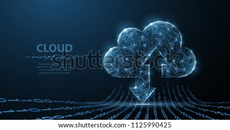 Cloud technology. Polygonal wireframe cloud storage sign with two arrows up and down on dark blue with dots, stars. Cloud computing, big data Concept illustration or background
