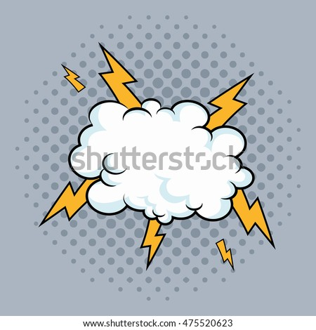 cloud thunder explosion cartoon pop art comic retro communication icon. Colorful pointed design. Vector illustration
