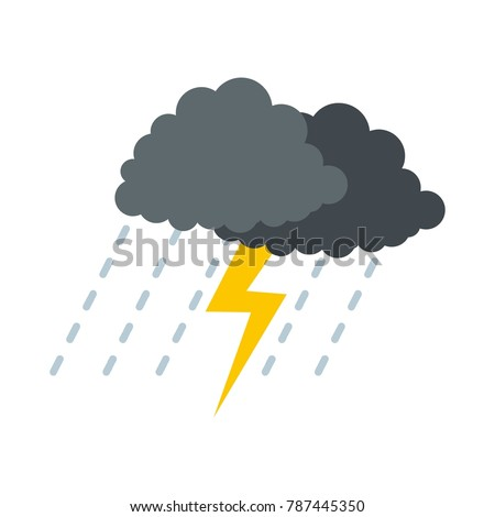 Cloud thunder lightning icon. Flat illustration of cloud thunder lightning vector icon isolated on white background