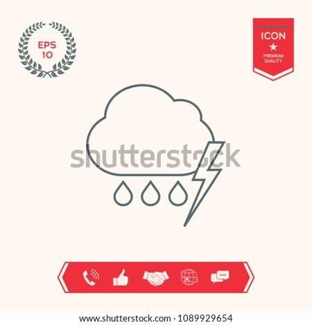 Cloud thunderstorm lightning rain line icon