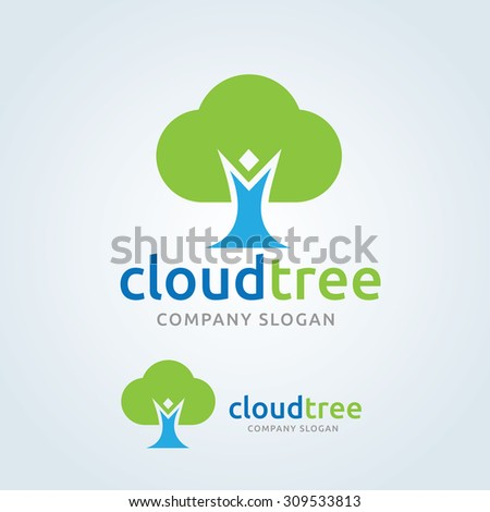 cloud tree eco logo people logo