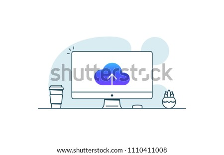 Cloud upload icon on computer screen. Vector illustration in line art style