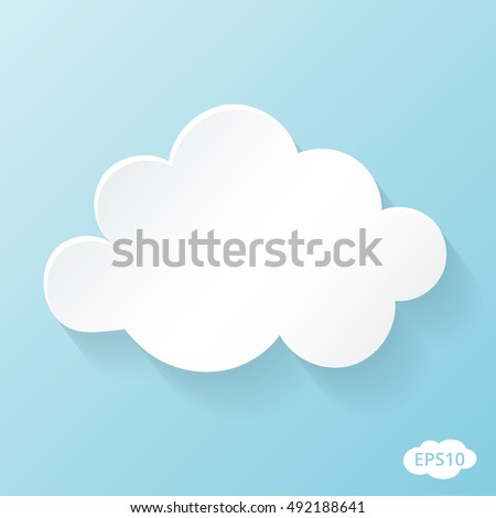 Cloud vector. Cloud icon isolated on blue background. Cloud flat illustration for web, art and app design. Beautiful cloud eps10 format.