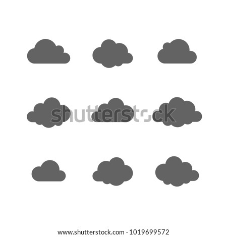 Cloud vector icon set. Cloud shape. Technology Save share data information concept. Design Logo, mobile app, website social media, UI, EPS, Flat sign isolated on white.