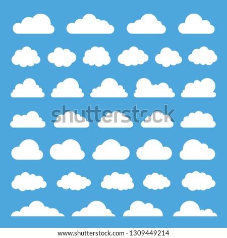 Cloud vector icon set on blue background.Creative modern concept - stock vector.